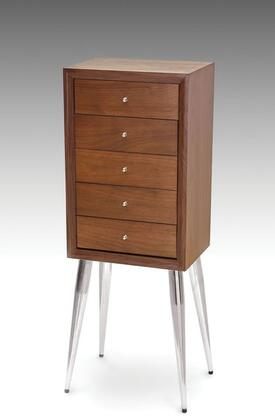 Gannon Collection 97210 13 inch  Jewelry Armoire with 5 Drawers  Metal Tapered Legs  Adjustable Legs Levelers  Metal Hardware and Wood Construction in Dark Mahogany
