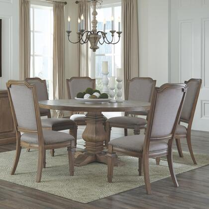 Florence Collection 180200c 7 Pc Dining Room Set With Dining Table + 6 Side Chairs In Rustic Smoke
