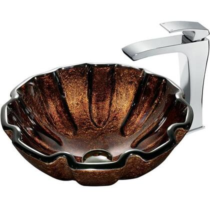VGT181 Walnut Shell Glass Vessel Sink and Faucet Set in