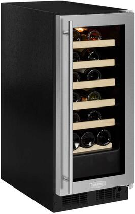 "ML15WSG0RS 15"" Single Zone Wine Cooler with 2.86 cu. ft. Capacity or 23 Bottle Capacity  Vibration Neutralization System  Marvel Prime Controls  in Glass Door"