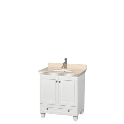 WCV800030SWHIVUNSMXX 30 in. Single Bathroom Vanity in White  Ivory Marble Countertop  Undermount Square Sink  and No