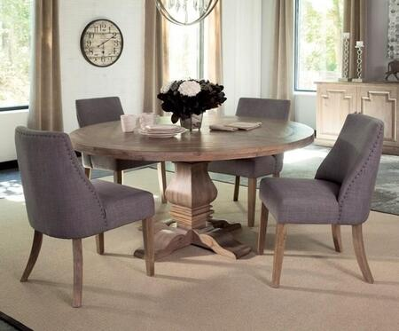 Florence Collection 180200GSC 5 PC Dining Room Set with Dining Table + 4 Grey Side Chairs in Rustic Smoke