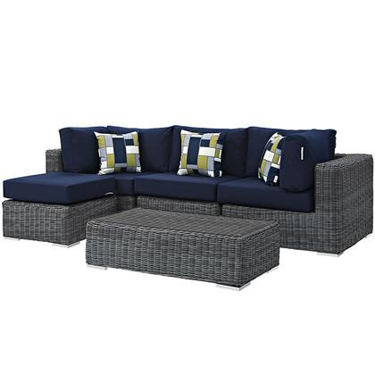 Summon Collection EEI-2398-GRY-NAV-SET 5-Piece Outdoor Patio Sunbrella Sectional Set with Armless Chair  Coffee Table  Ottoman and 2 Corner Sections in Canvas