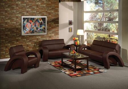 Irisa Collection 51735SLCT 6 PC Living Room Set with Sofa+ Loveseat + Chair + 3 PC Table Set in Chocolate