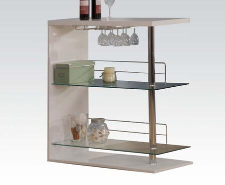 Valdin Collection 71300 42 inch  Bar Table with 8mm Clear Tempered Glass Shelves  Stemware Rack and Wood Construction in White and Chrome