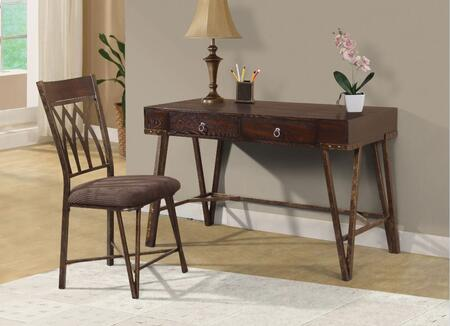 801126 2-Piece Desk Set with Writing Desk and Chair in Brushed Pecan Wood and Hand Brushed Antique Brass