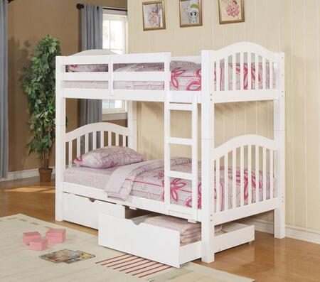 Heartland 02354BD 2 PC Bedroom Set with Twin Bunk Bed + Storage Drawers in White