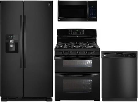 4-Piece Black Kitchen Package with 51119 Side-by-Side Refrigerator  78049 Freestanding Double Oven Gas Range  80329 Over-the-Range Microwave and