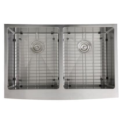 Pro Series APRON332210-DBL-SR 33 inch  Double Bowl Farmhouse Apron Front Stainless Steel Kitchen