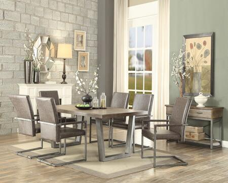 Lazarus Collection 731108SET 8 PC Dining Room Set with Dining Table + Server + 6 Arm Chairs in Weathered Oak and Antique Silver