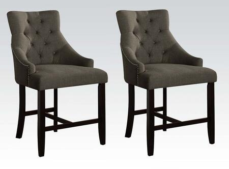 Drogo Collection 59197 Set of 2 25 inch  Counter Height Chairs with Walnut Tapered Legs  Nail Head Trim  Button Tufted Backrest and Fabric Upholstery in Grey