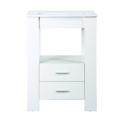 YVEC-480WH 24 inch  Single Vanity with Ceramic Top  Single Faucet Hole  ceramic Basin  2 Smooth Sliding Drawers and a Shelf in White Cabinet