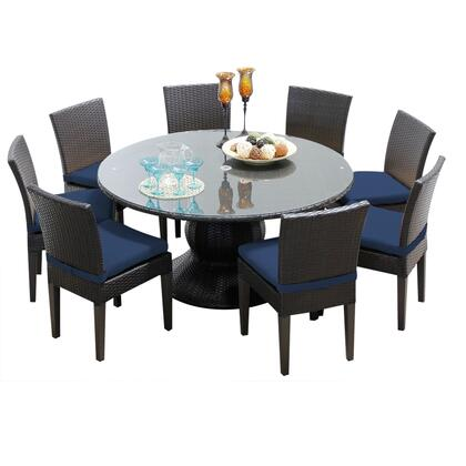 NAPA-60-KIT-8C-NAVY Napa 60 Inch Outdoor Patio Dining Table with 8 Armless Chairs with 2 Covers: Wheat and