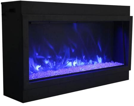 Amantii BI-40-DEEP-XT 40 Wide Deep Electric Fireplace with Black Steel Surround Ambient Canopy Lighting Glass Panel Remote Control Included Fire and Ice Flame
