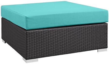 Convene Collection Eei-1845-exp-trq 35.5 Outdoor Patio Large Square Ottoman With Polished 201 Stainless Steel Legs  Washable Cushion Cover  Uv And Water
