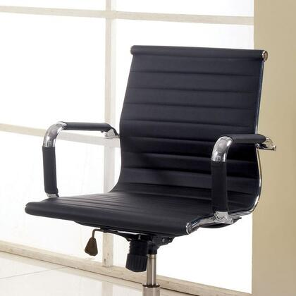 Barcelos CM-FC618S-BK Office Chair with Contemporary Style  Pneumatic Ht. Adjustable Seat  Padded Leatherette Chair  Metal Base and Sturdy Wheel Legs in