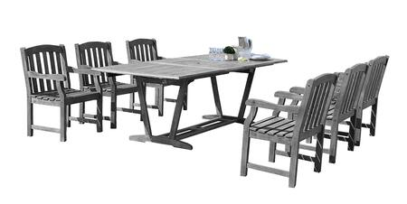 V1294SET13 Renaissance Outdoor 7-Piece Hand-Scraped Wood Patio Dining Set With Extension