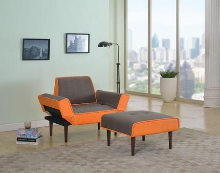 57166 Lorin Adjustable Chair and Ottoman in Gray Fabric and Orange PU