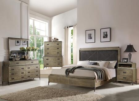 Athouman Collection 23907EKSETPD 5 PC Bedroom Set with King Size Bed + Dresser + Mirror + Chest + USB Powder Dock Nightstand in Weathered Oak