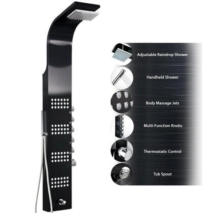 GV-8727BH 59 Black Stainless Steel Shower Panel Tower Rainfall