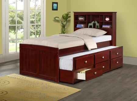250-TCP Twin Mission Captains Bed with Full Trundle Bed  3 Drawers and Bookcase in