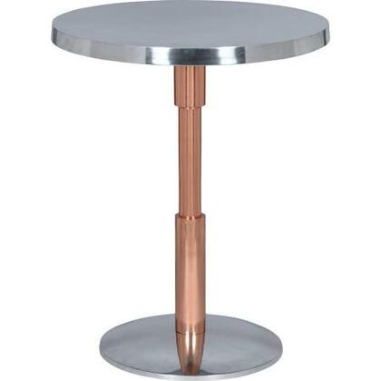 TA066 Kristof Accent Table Aluminium Accent Table in Shiny Polished Aluminum Table Top & Base/ Copper