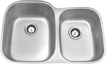 AS327 Heritage 32 inch  Undermount Kitchen Sink with Two 16 Gauge Bowls  Large Bowl Left Side  Type 304 Stainless Steel Construction and Brushed Nickel