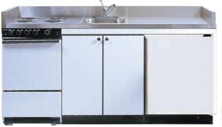 ROE9Y63 63 inch  Compact Kitchen with 4 Electric Coil Burners  Removable Refrigerator  Electric Oven  Backguard  Stainless Steel Countertop  and Sink: