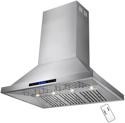RH0162 48 inch  Dual Motor Island Range Hood with 820 CFM  65 dBA  4 Halogen Lighting  6 Stainless Steel Baffle Filters and Touch Panel Controls  in Stainless