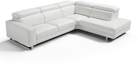 SR1421LSWHT Augusto Large Sectional 100% Made In Italy  Chaise On Right When Facing  White Top Grain Italian Leather 1066 L09S  Adjustable Headrest  Stainless