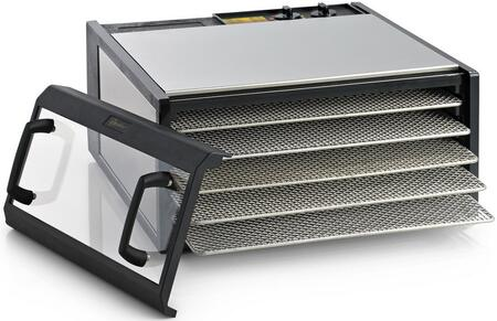 D500CDSHD Clear Door Dehydrator with 5 Trays  8 Sq. Ft. of Drying Area  Adjustable Thermostat  26 Hour Timer  5 Year Limited Warranty  and Drying Trays in: