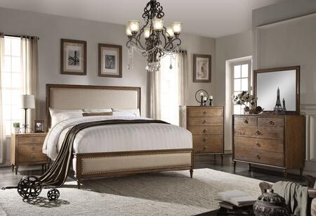 Inverness Collection 26074CKSET 5 PC Bedroom Set with California King Size Bed + Dresser + Mirror + Chest + Nightstand in Reclaimed Oak