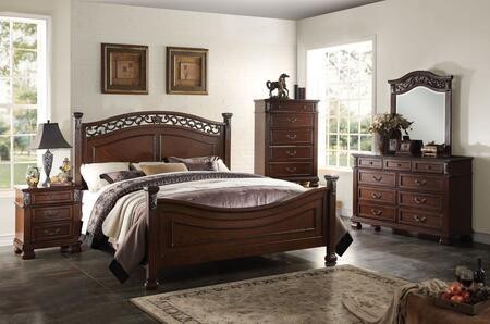 Manfred 22770Q5PC Bedroom Set with Queen Size Bed + Dresser + Mirror + Chest + Nightstand in Dark Walnut