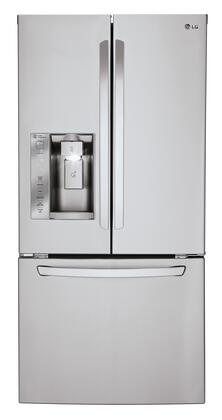 "LFXS24623S 33"""" French Door Refrigerator with 24 Cu. Ft. Capacity  Glide N' Serve Drawer  Slim SpacePlus Ice System  Smart Cooling System  Premium LED Lighting"" 376034"