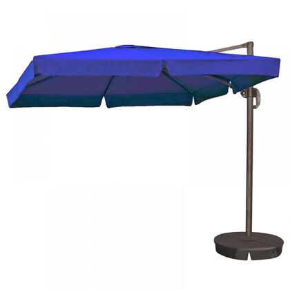 NU6180 Santorini II 10-ft Square Cantilever Umbrella w/ Valance in Blue Sunbrella