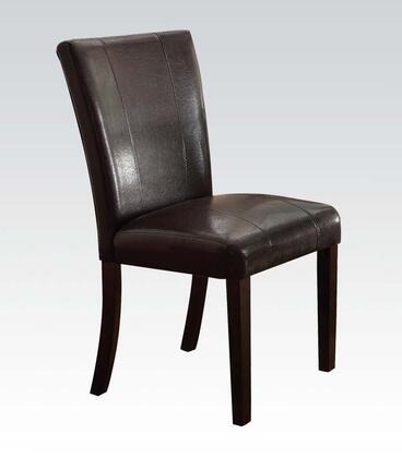 Bethany Collection 70619 Side Chair with PU Leather Upholstered Seat and Back   Stitched Detailing and Tapered Legs in