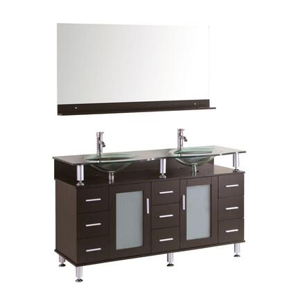 9097-72 Cerviel 72 inch  Double Vanity In Espresso With Glass Vanity Top In Clear And