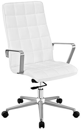 Tile Collection EEI-2126-WHI Highback Office Chair with Adjustable Height  Swivel Function  Dual-Wheel Nylon Casters  Brushed Aluminum Armrests  Powder Coated