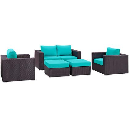 Convene Collection EEI-2158-EXP-TRQ-SET 5-Piece Outdoor Patio Sofa Set with Loveseat  2 Armchairs and 2 Ottomans in