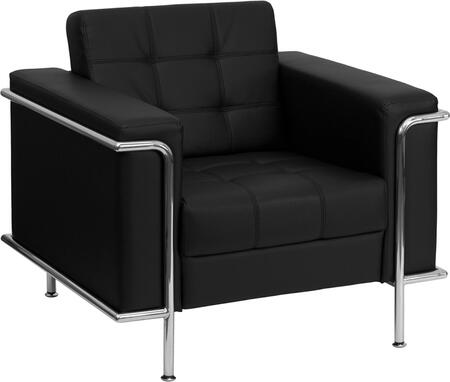 ZB-LESLEY-8090-CHAIR-BK-GG HERCULES Lesley Series Contemporary Black Leather Chair with Encasing