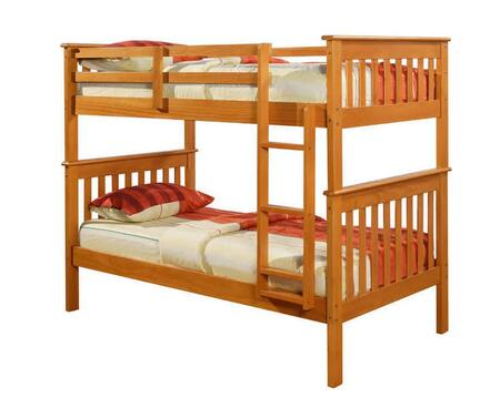120-3H Twin Over Twin Mission Bunk Bed with Attached Ladder  Slat Headboard and Footboard in Honey