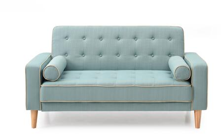 Navi Collection G833A-L 60 inch  Sleeper Loveseat with 2 Bolster Pillows  Tapered Wood Legs  Track Arms  Button Tufted Cushions  Heavy Duty Springs and Fabric
