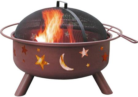 28338 Big Sky Firepits with Stars/Moon Pattern  23.5 Large Fire Bowl  Cooking Grate  Spark Screen and Steel Construction in Georgia Clay