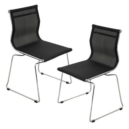 Mirage CH-MIRAGE BK2 Set of (2) 32″ Stackable Dining Chair with Mesh Fabric Upholstery  Chrome Base and Stackable Design in
