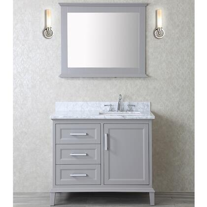 SCNAN42STG Seacliff by ARIEL Nantucket 42 inch  Single Sink Vanity Set with Marble Top  Tapered Legs  and Molding Detail in Taupe