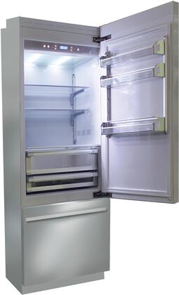 BKI24B-RO 24 inch  Brilliance Series Built In Bottom Freezer Refrigerator with TriMode  TotalNoFrost  3 Evenlift Shelves  Door Storage and LED Lighting: Stainless
