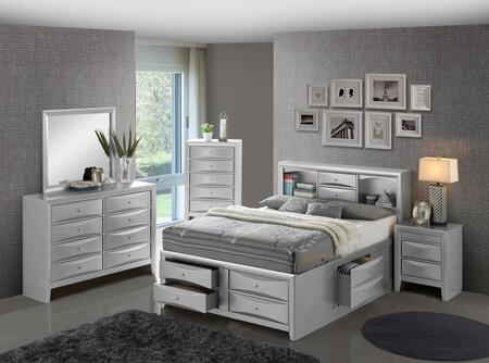 G1503G-FSBDMNC 5-Piece Bedroom Set with Full Storage Bed + Dresser + Mirror + Single Nightstand +