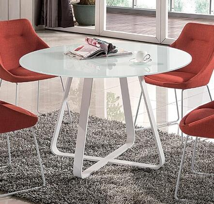 Vera Collection 18227-DT 47 inch  Dining Table with Glass Top and Metal Legs in