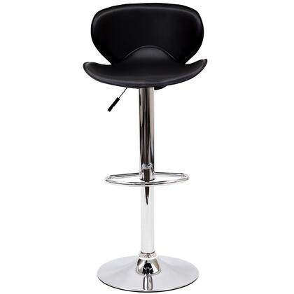 Booster Collection EEI-580-BLK Bar Stool with 360-Degree Swivel Seat  Hydraulic Adjustable Height  Footrest Ring  Chrome Plated Steel Frame and Leatherette