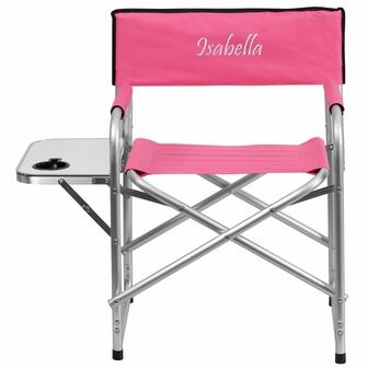 TY1104-PK-EMB-GG Embroidered Aluminum Folding Camping Chair with Table and Drink Holder in